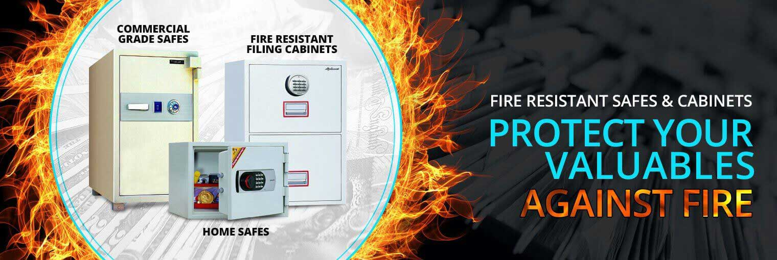 Fire resistant safes and filing cabinets, home & commercial grade safes for sale